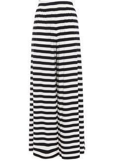 Norma Kamali Woman Striped Stretch-jersey Wide-leg Pants Black