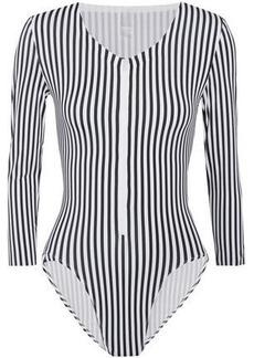 Norma Kamali Woman Striped Swimsuit Black