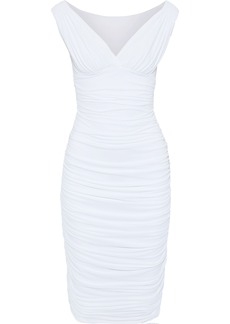 Norma Kamali Woman Wrap-effect Ruched Stretch-jersey Dress White