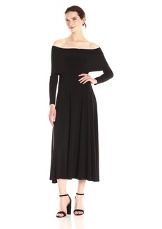 Norma Kamali Women's Cowl Neck Flaired Dress  M