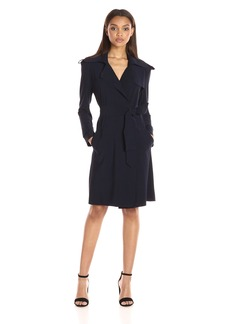 Norma Kamali Women's Double Breasted Trench Wrap Dress  L