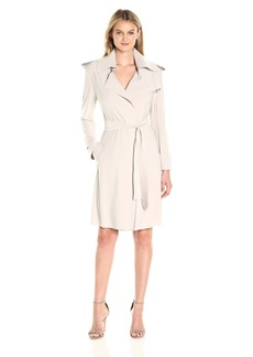 Norma Kamali Women's Double Breasted Trench Wrap Dress  XL