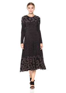 Norma Kamali Women's Long Sleeve Flaired Dress Spliced GR Squiggle Combo M