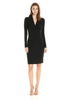 Norma Kamali Women's Long Sleeve Modern Side Drape Dress to Knee Solid  XL