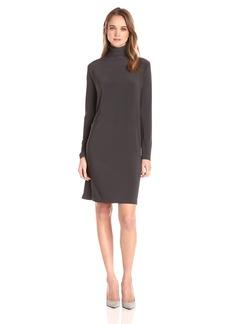 Norma Kamali Women's Long Sleeve Turtleneck Dress to Knee  L