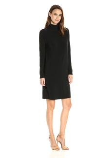 Norma Kamali Women's Long Sleeve Turtleneck Dress to Knee Solid  L