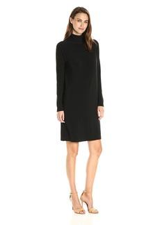 Norma Kamali Women's Long Sleeve Turtleneck Dress to Knee Solid  XL