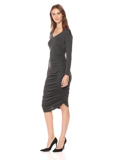 Norma Kamali Women's Long Sleeve V Neck Shirred Dress  M