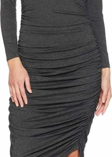 Norma Kamali Women's Long Sleeve V Neck Shirred Dress  S