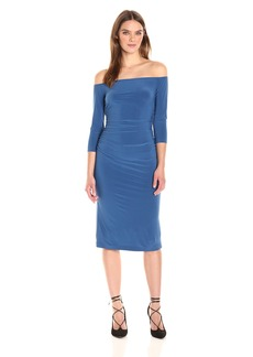 Norma Kamali Women's Off Shoulder Shirred Waist Dress  L