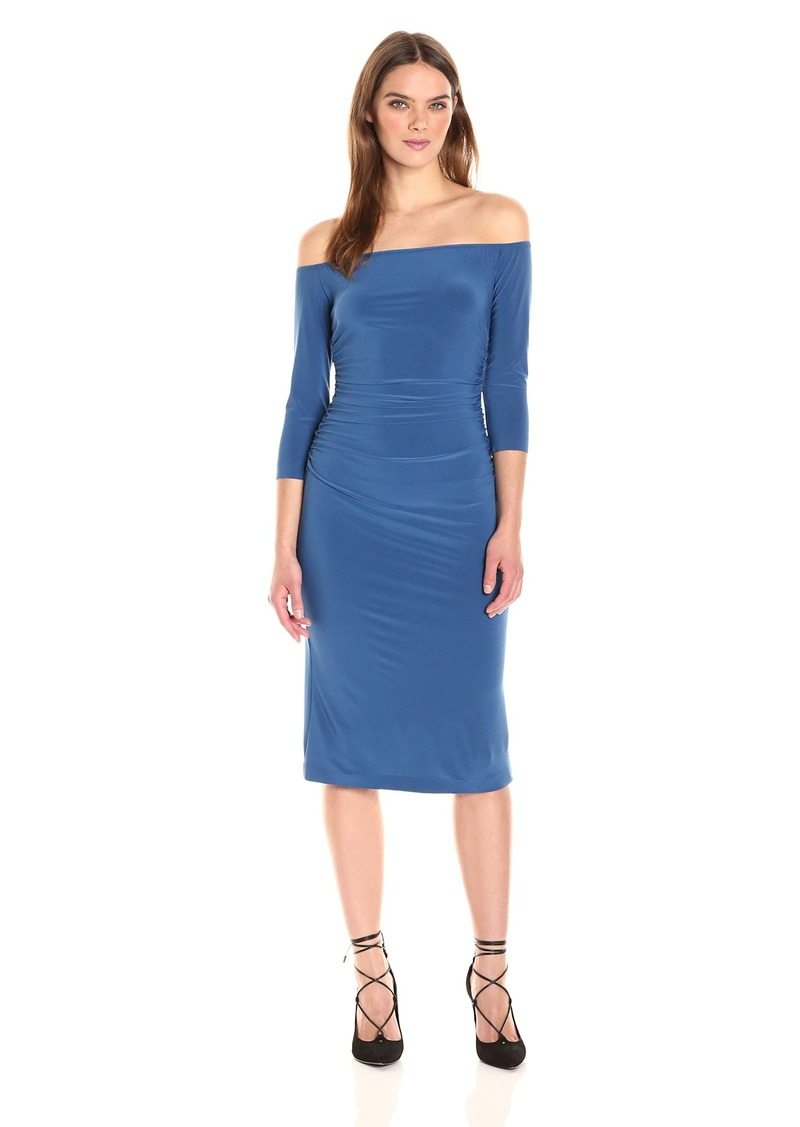 Norma Kamali Women's Off Shoulder Shirred Waist Dress  M