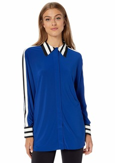 Norma Kamali Women's Side Stripe Boyfriend NK Shirt Berry Blue/Engineered