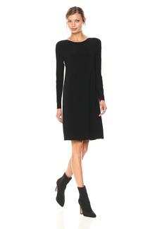 Norma Kamali Women's Side Stripe Long Sleeve Crew Dress To Knee Black/Ivory M