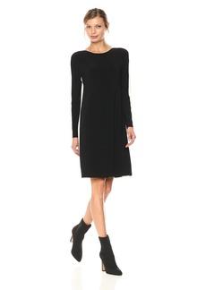 Norma Kamali Women's Side Stripe Long Sleeve Crew Dress to Knee Black/Ivory S