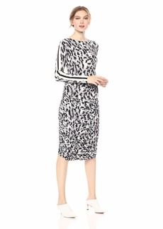 Norma Kamali Women's Side Stripe Long Sleeve Shirred Dress Abstract Leo/ENG Strip XS