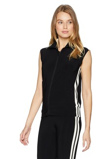 Norma Kamali Women's Side Stripe Sleeveless Turtle Jacket  XL