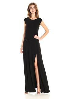 Norma Kamali Women's Sleeveless Elephant Dress with Skinny Belt  L