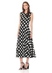 Norma Kamali Women's Sleeveless Flaired Dress Polka dot XL