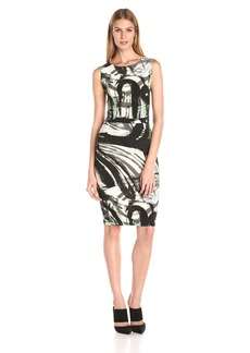 Norma Kamali Women's Sleeveless Shirred Waist Dress with Ruching on Side  L