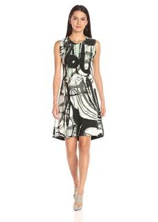 Norma Kamali Women's Sleeveless Swing Dress Bonded Print  XS