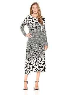Norma Kamali Women's Spliced Long Sleeve Flaired Dress  S