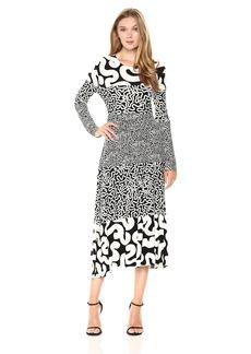 Norma Kamali Women's Spliced Long Sleeve Flaired Dress  XL