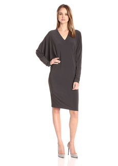 Norma Kamali Women's V Neck Dolman Dress to Knee  XS