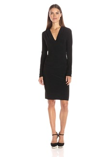 Norma Kamali Women's V Neck Longsleeve Shirred Waist Dress