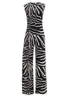 Norma Kamali Zebra-print flared-leg jersey jumpsuit