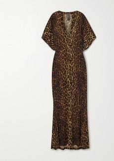 Norma Kamali Obie Leopard-print Stretch-jersey Maxi Dress
