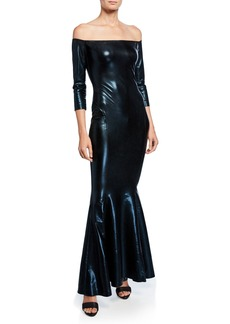 Norma Kamali Off-the-Shoulder 3/4-Sleeve Fishtail Gown