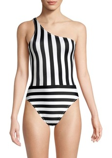 Norma Kamali One Shoulder Striped One-Piece Swimsuit