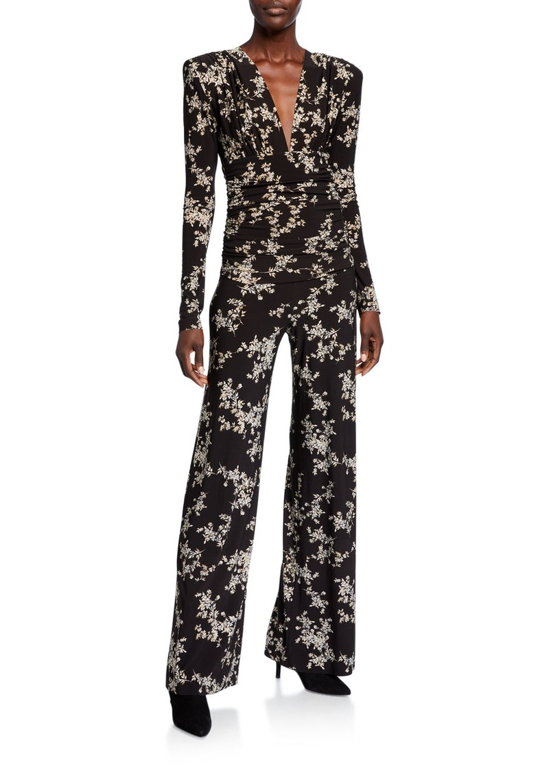 Norma Kamali Printed V-Neck Long-Sleeve Shirred-Waist Jumpsuit