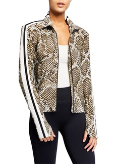 Norma Kamali Python-Print Side Stripe Turtleneck Jacket