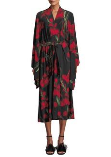 Norma Kamali Rose-Print Mid-calf Robe