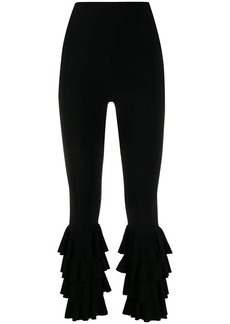 Norma Kamali ruffled cropped trousers