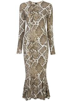 Norma Kamali Scale Python fishtail dress