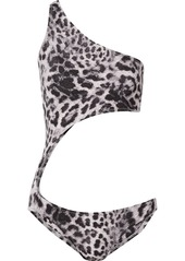 Norma Kamali Shane One-shoulder Cutout Leopard-print Swimsuit