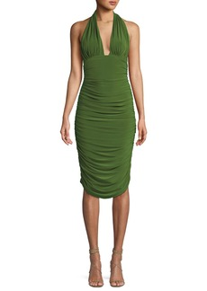 Norma Kamali Shirred Stretch Halter Cocktail Dress