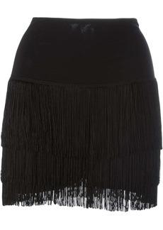 Norma Kamali short fringed skirt