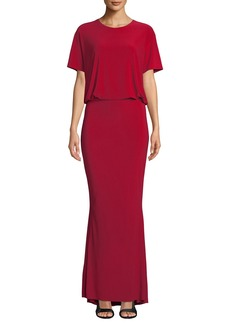 Norma Kamali Short-Sleeve Blouson Gown w/ Fishtail Hem