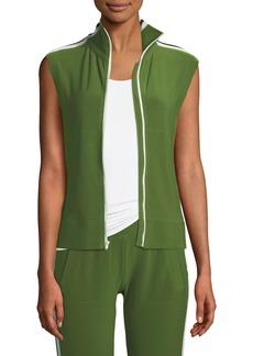 Norma Kamali Side-Stripe Sleeveless Turtle Athletic Jacket