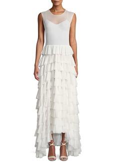 Norma Kamali Sheer Sleeveless Flared Stretch Ruffle Long Dress