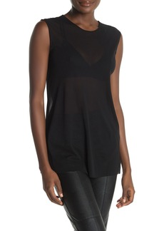 Norma Kamali Sleeveless Scoop Neck Mesh Tank Top