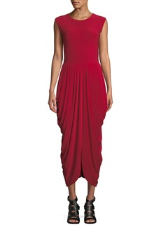 Norma Kamali Sleeveless Waterfall Drape Cocktail Dress