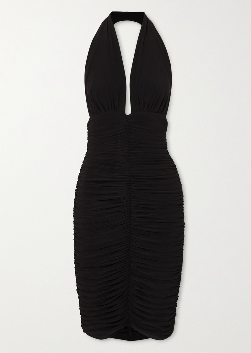 Slinky Ruched Stretch-jersey Halterneck Dress