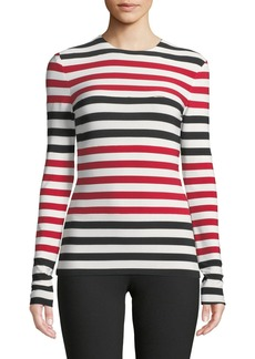 Norma Kamali Spliced Striped Long-Sleeve Top