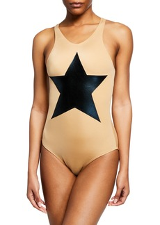 Norma Kamali Star-Graphic Racer Bodysuit