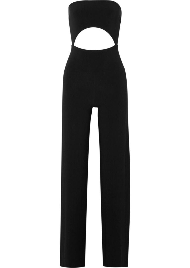 Norma Kamali Strapless Cutout Stretch-jersey Jumpsuit