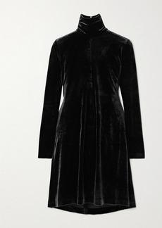 Norma Kamali Stretch-velvet Turtleneck Mini Dress